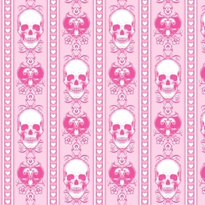 Baroque Skull Stripe Sweet Pink