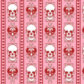Baroque Skull Stripe Valentine Pink