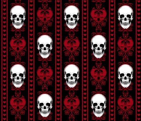 Baroque Skull Stripe Red Black