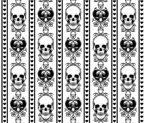 Baroque Skull Stripe Black/White