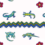 Lizards and Chevrons with flowers