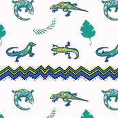 Lizards and Chevrons with Leaves