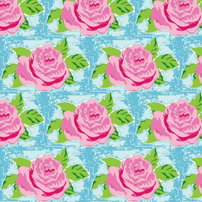 Tropical rose Large - quilt  seafoam ocean