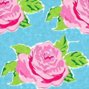 Watercolor rose Large - ocean