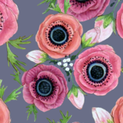 Watercolor Floral Anemone //  Eternal Flower Garden child / Anemone