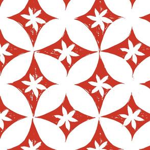 Block print red/white petals
