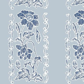 vertical-floral-border blue and white on bluegrey