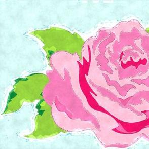 Watercolor Rose XL- seafoam