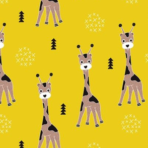 Adorable little baby giraffe cute kids zoo jungle animals illustration geometric scandinavian style print in mustard