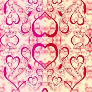 hearts in pink and red in 3d