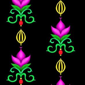 Flower Damask 1- Fuchsia