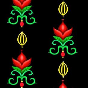Flower Damask 1- Red
