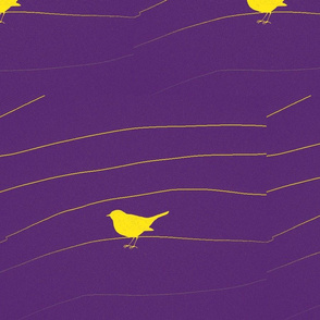 Yellow Birds/purple ground