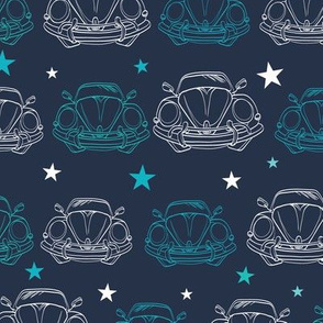 Vector Dark Blue Vintage Cars Stars Drawing Seamless Pattern. Lineart Old Car. Front Bumper View
