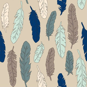 Feathers taupe/blue