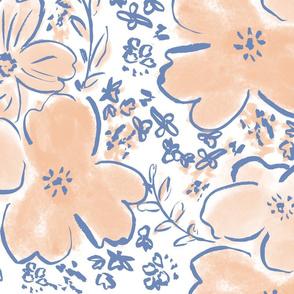 Orange & Blue Floral