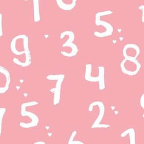 Back to school numbers girls love math theme for kids abstract typography text print in pink
