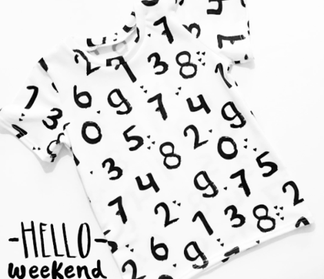 Monochrome back to school numbers math theme for kids abstract typography text print in black and white