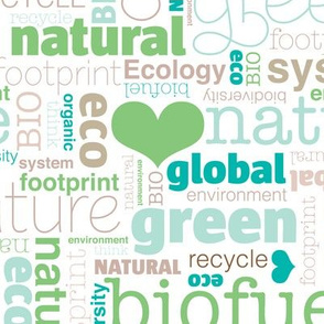 Eco bio nature green theme text design love for organic typography print