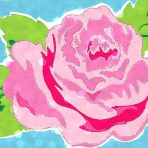 Watercolor Rose Crop  XL- ocean-ed