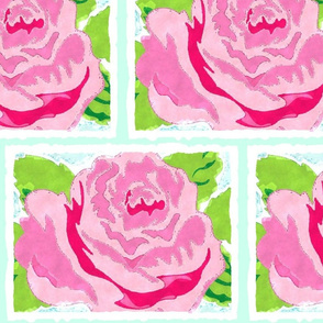 Watercolor Rose Quilt XL- seafoam
