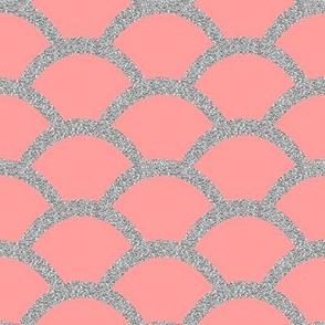Faux Silver Glitter Scallop, Pink Coral