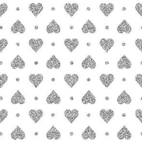 Faux Silver Glitter Hearts & Dots