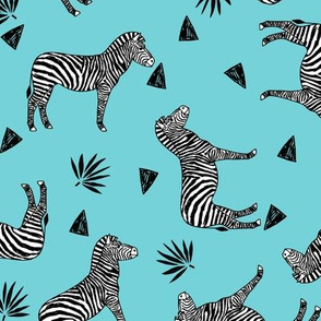 zebra // zoo safari black and white animal aqua blue kids animals