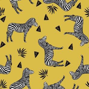 zebra // mustard yellow zoo safari africa animal black and white