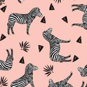 zebra // black and white zebra pastel pink girls sweet zebra print
