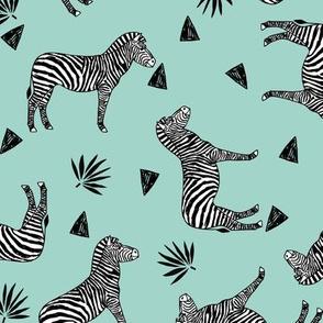Zebra - Pale Turquoise by Andrea Lauren