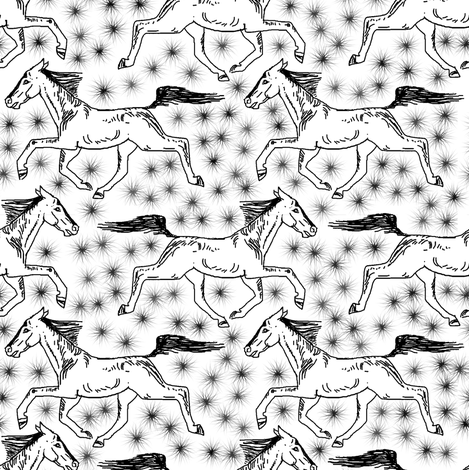 White Scratchboard Trotting Horses