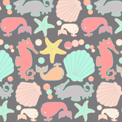 Nautical Fun Creatures, Gray Pastel