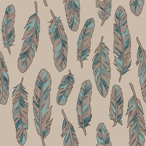 Painted feathers taupe/blue