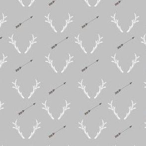 Rustic Horns and Arrow in Grey