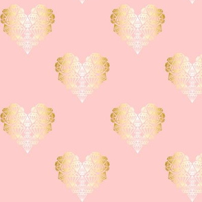 Diamondhearts pink/gold