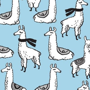 Llamas - Light Blue by Andrea Lauren