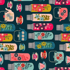Tea Thermos - Vintage Florals (Railroad) by Andrea Lauren