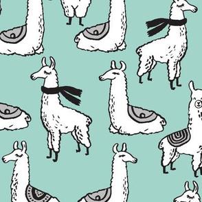 Llamas - Pale Turquoise by Andrea Lauren