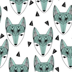 Fox Head - Mint and White by Andrea Lauren