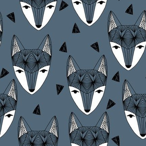 Fox Head - Payne's Grey by Andrea Lauren