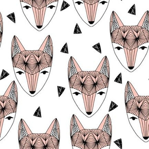 Fox Head - Pink and White by Andrea Lauren