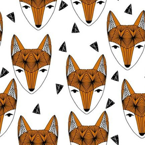 Fox Head - Rust and White by Andrea Lauren