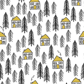 cabin // forest trees mustard yellow outdoors black and white white background