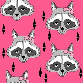 Girl Raccoon - Bright Pink by Andrea Lauren