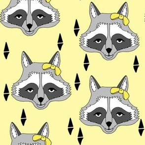 raccoon // sweet pastel yellow girls raccoon with bow spring animal print for baby girl sweet little girls
