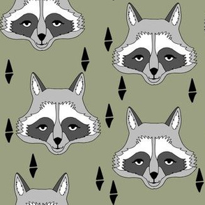 raccoon // artichoke green boys outdoor animal baby boy raccoon camping scouts woodland print camp ivanhoe