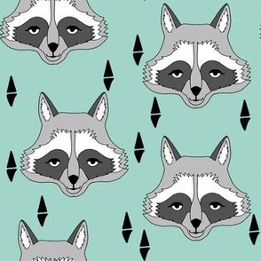 raccoon // mint sweet little kids gender neutral raccoon animal print for outdoors camping woodland