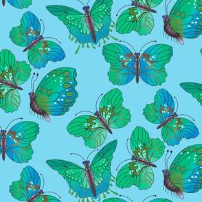 Blue & Green Butterflies