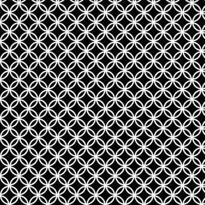 SMALL Fretwork circles, white on black by Su_G